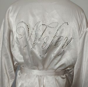 """White Satin Bling """"Wifey"""" Robe with Belt"""